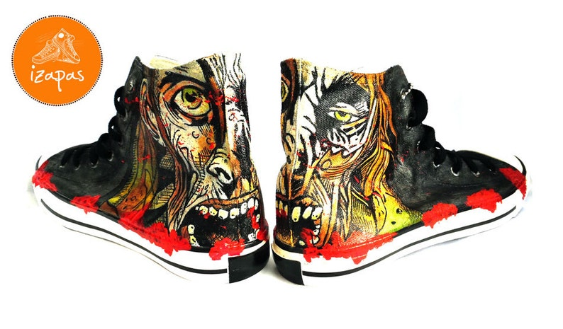afa51959d2c3 Zombie Painted Personalized Sneakers canvas shoes custom