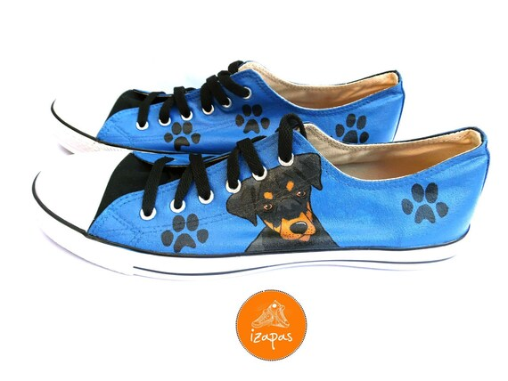 Doberman Painted Sneakers, personalized dog canvas shoes, Doberman dog, custom converse, dog shoes, low top trainers, pet portrait