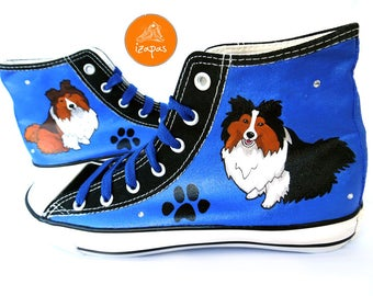 Sheltie Shoes, Shetland Sheepdog Shoes, High Tops, Sneakers, Hand Painted sneakers, dog shoes, Hand Painted shoes, canvas shoes, dogs