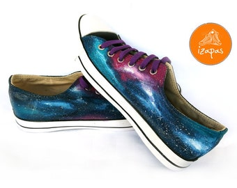 Galaxy Sneakers, Sneakers, Hand Painted sneakers, space shoes, Hand Painted, canvas shoes, hand painted shoes, low tops, galaxy, blue, navy