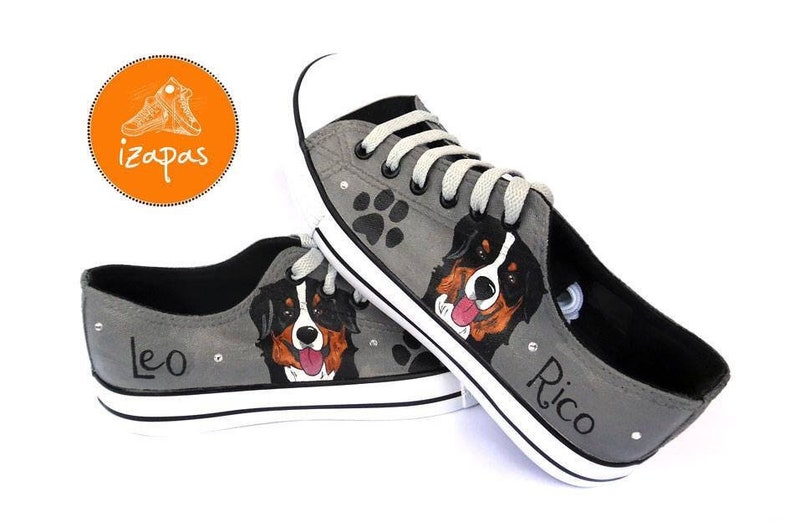 62860c23d079 Bernese Painted Sneakers personalized dog canvas shoes | Etsy