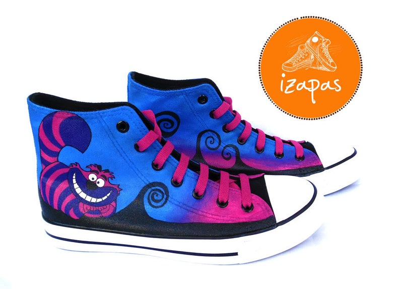 3b85d4cf8c939c Cheshire Cat Painted Sneakers alice cat canvas shoes custom