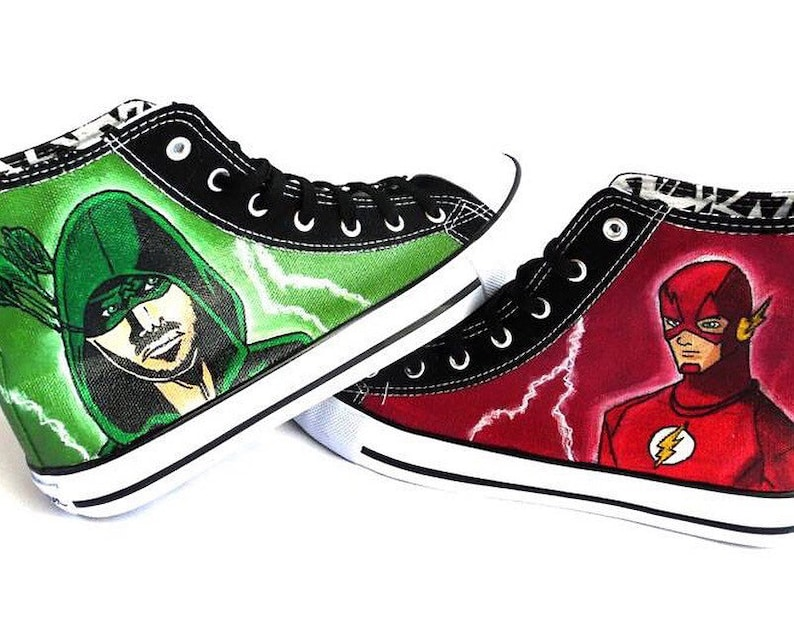 6a1ce4dd486e Flash and arrow Painted Personalized Sneakers superhero