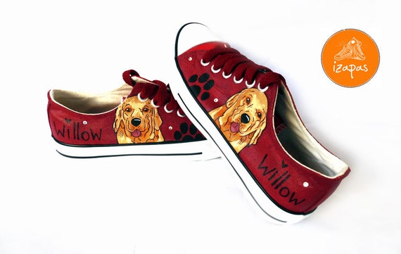 Golden Retriever Painted Sneakers, personalized dog canvas shoes, custom converse, dog shoes, low top trainers, pet portrait