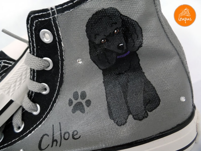 79e4f0ca42c1 Poodle Painted Sneakers personalized dog canvas shoes custom