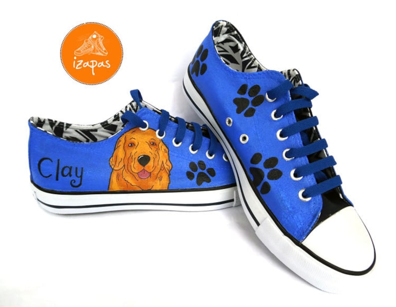 Gifts For Golden Retriever Owners - Golden Retriever painted sneakers in blue canvas.