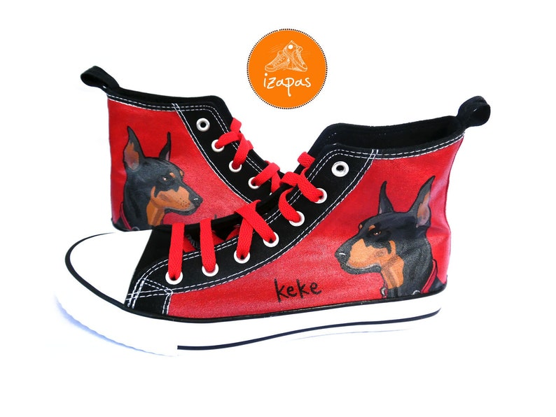 af6f72430da3 Dobermann Painted Sneakers personalized dog canvas shoes