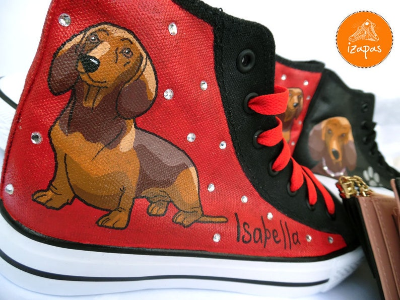 Dachshund Painted Sneakers personalized dog canvas  759ce18ee