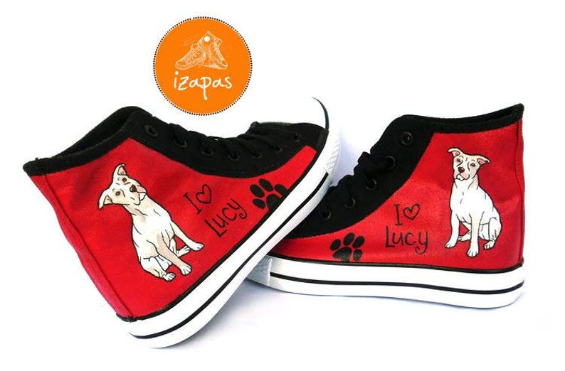 dad44a0490d63 Pitbull Painted Sneakers, personalized dog canvas shoes, Pitbull Terrier,  custom converse, dog shoes, high top trainers, pet portrait
