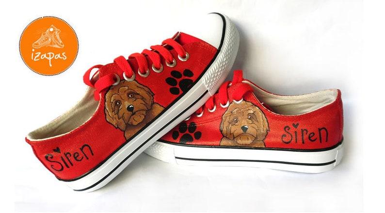 778ed66e5b03e Labradoodle Painted Sneakers, personalized dog canvas shoes, doodle dog,  custom converse, dog shoes, low top trainers, pet portrait