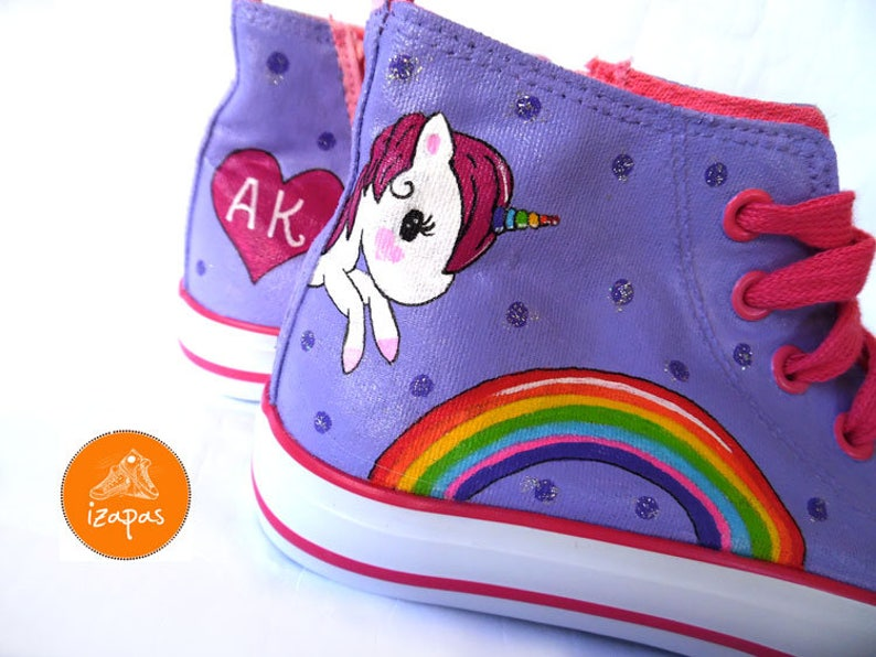 8506a5fde932 Unicorn Rainbow Painted Sneakers personalized canvas shoes