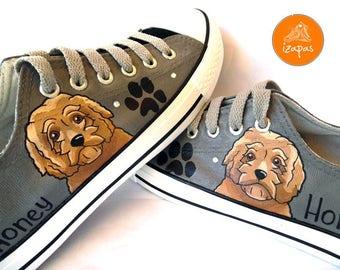 Goldendoodle Sneakers, personalized dog canvas shoes, Golden Doodle, custom converse, dog shoes, low top trainers, pet portrait
