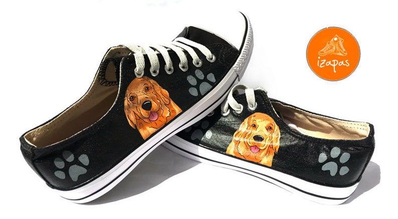 24a7aba013e8b DISCOUNT Golden Retriever Painted Sneakers, READY to POST, dog canvas  shoes, custom converse, dog shoes, low top trainers, pet portrait