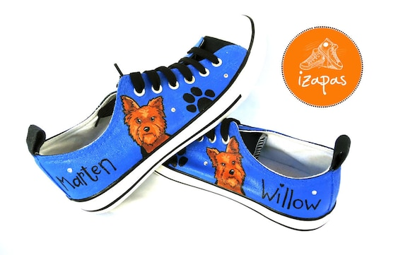 Yorkie Painted Sneakers Personalized Dog Canvas Shoes Etsy