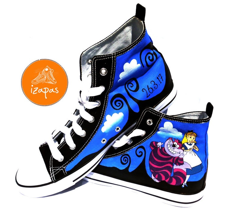 0bc62593e65fa1 Alice   Cheshire Cat Painted Sneakers alice cat canvas shoes