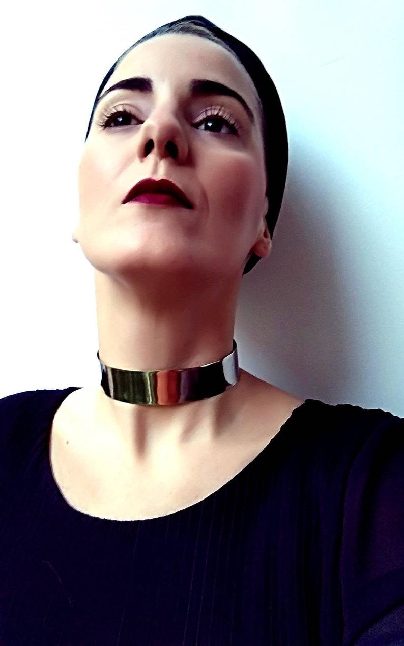 Neck Cuff /& Hand Cuff Traditional Collar 1/'/' and Cuff 4/'/'wide African Jewelry Silver Metallic Armor Choker Tribal BDSM, Statement