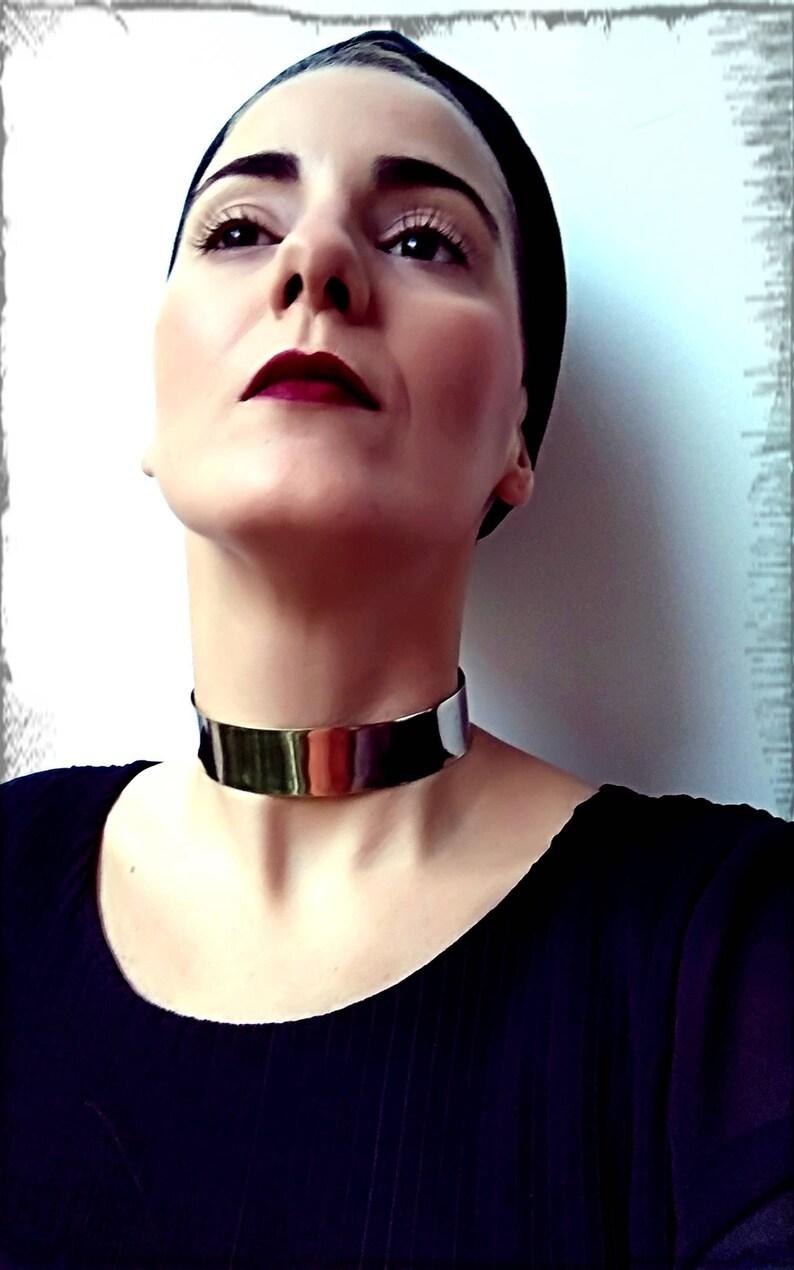 Wide Choker Neck Cuff Egyptian Silver Neck Cuff Raw Jewelry BDSM Statement 1/'/' Wide Bold Necklace Silver Armor Choker Mettalic Collar