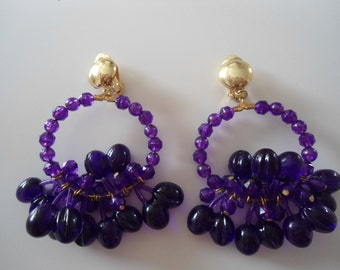 Really cool and funky purple vintage clip on earrings