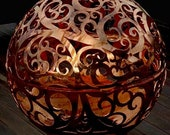 WAVES FIREBALL Fire Pit -unique sculptural art individually handcrafted steel sphere hand cut with precision and meticulous detail attention