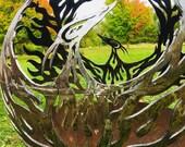PHOENIX FIREBIRD FIREBALL Fire Pit - individually handcrafted corten steel available made by sculpural metal artist