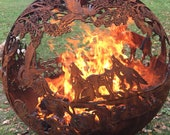 GAS WILD FIREBALL Beau's Woods Fire Pit - Fireball Firepits individually handcrafted steel sphere fire pits with nature and wildlife detail