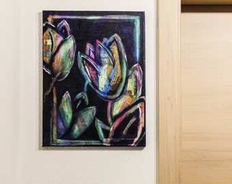 Hello Spring - Flower buds flower buds canvas of canvas acrylic