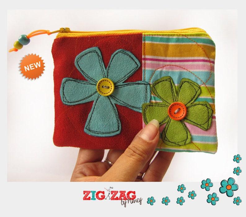 Double compartment zipped wallet Flowers Stripes-brick 15x10 cm