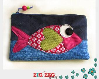 """Kit flat zipper pocket """"Fish"""" (blue, red 23 x 14 cm)"""