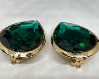 Green Tear Drop Emerald Colour Clip On Earrings