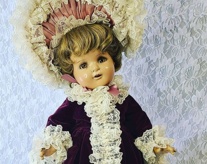 """No Reserves Haydée Haunted Doll ~ Rare 22"""" Composition Shirley Temple 1940s ~ Paranormal ~ Amazing Outfit ~ Child Spirit ~ Paris, France"""