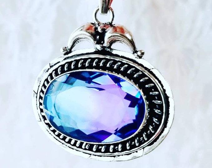 Beautiful Blue Purple Bicolor Tourmaline Pendant ~ Sterling Silver ~ Balance & Protection ~ Valentine's Day ~ Comes in Gift Box ~ Energy