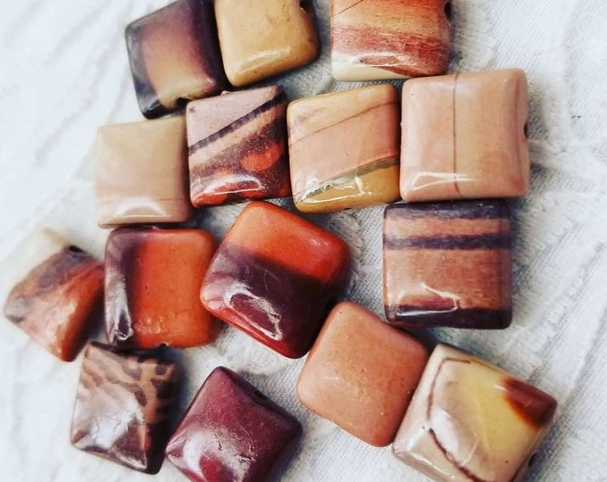 Lot of 15 Real Authentic Sedona Jasper Crystal Stone Square Beads ~ Jewelry Making ~ Beautiful Colors