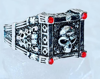 ALMOST GONE! Boyfriend Gift ~ Square Silver Skull Ring with Red Rhinestones ~ Gift for Best Friends ~ Stainless Steel ~ Comes in Gift Box