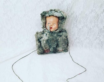 Vintage 1938 RARE Composition Doll Head Child's Faux Fur MUFF