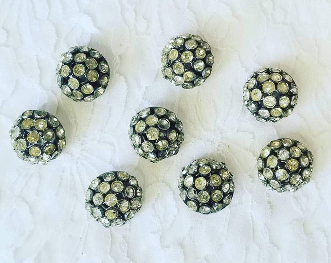 """Lot of 8 Very Old 1930s Domed Hand Set Rhinestone 1"""" Round Buttons ~ Perfect for Vintage Sweaters or Formal Wear ~ Repurpose!"""