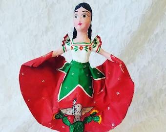 "Mexico ~ 1960s Folk Art Paper Mache Doll ~ Mexican Folk Art ~ 9.5"" Mexican Flag on Skirt ~ Souvenir of Tijuana, Mexico"
