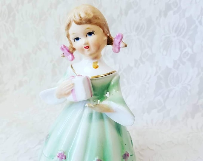 """Vintage Schmidt Dancing Girl  Music Box ~ Plays """"Happy Birthday Song"""" ~ Spins on Base ~ Marked Underneath"""