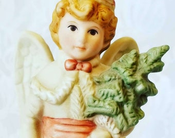 """Musical Bisque 1985 Christmas Angel Music Box by Schmid ~  Collectible Music Box ~ Plays """"Hark the Herald Angels Sing"""""""