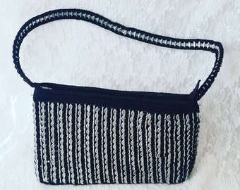 Purse Pull Tab Soda Pop Top Recycled Aluminum Black Handmade Crochet Handbag