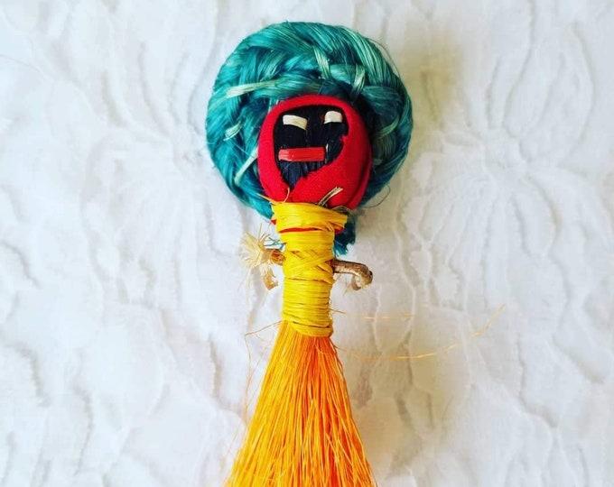Africa ~ African Straw Talisman Doll on a Stick ~ Blessings ~ Good Fortune ~ Handmade ~ Folk Art ~ Altarpiece