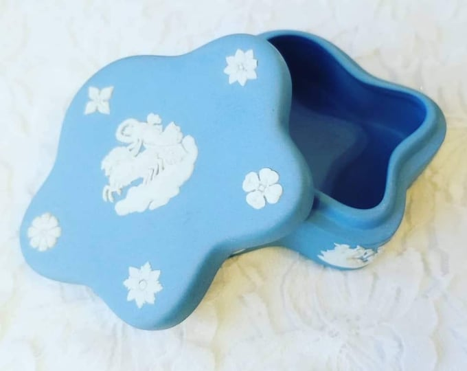 Unique Star Shaped Trinket Box ~ Authentic Signed Wedgwood Jasperware ~ French Blue Porcelain ~ Goddess in a Chariot