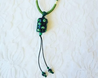 Green Macrame Necklace with Lampwork Focal Beads ~ Adjustable ~ Artist Made Necklace