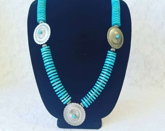 HUGE Native American Faux Turquoise (Dyed Howlite) Large 16mm Heishi Beads with Real Sterling Silver and Hematite ~ OOAK Necklace LARGE!
