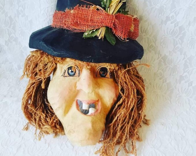 Paper Mache Witch Lady Mask ~ Hand Painted Paper Mache ~ Theatrical Theater Mask ~ Halloween Decor Costume Cosplay Halloween Dress Up