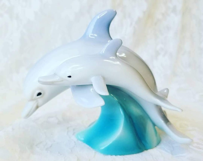 """Dolphin 4"""" by 5"""" Figurine ~ Mother and Child ~ Hand Painted Ceramic Statue ~ Spirit Animal Totem Fetish"""