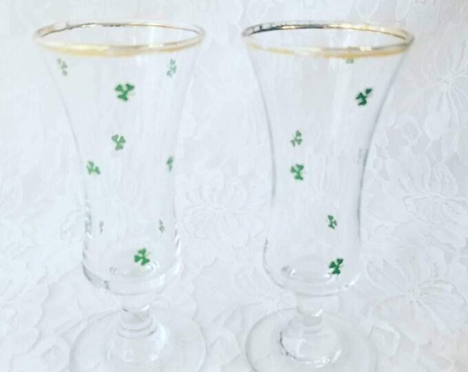 Set of Two Mid Century Modern Vintage Cordial Shot Shamrock Sherry Glasses ~ Handcrafted Republic of Ireland ~ Drinking Glasses - Barware