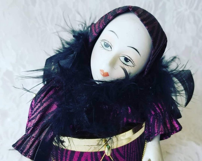 """Unnamed (raze) Haunted Doll ~ Harlequin French Mime Doll 8"""" ~ Paranormal ~ Strange ~ Unusual ~ Dreams and Visions ~ Santeria?"""