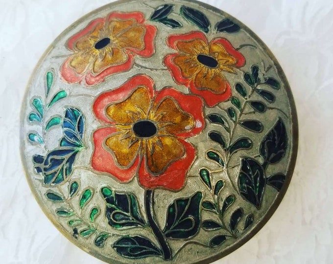 "Large Round Brass Enamel Jewelry Trinket Box ~ Cloisonne ~ Embossed ~ Made in India ~ 5.25"" wide"