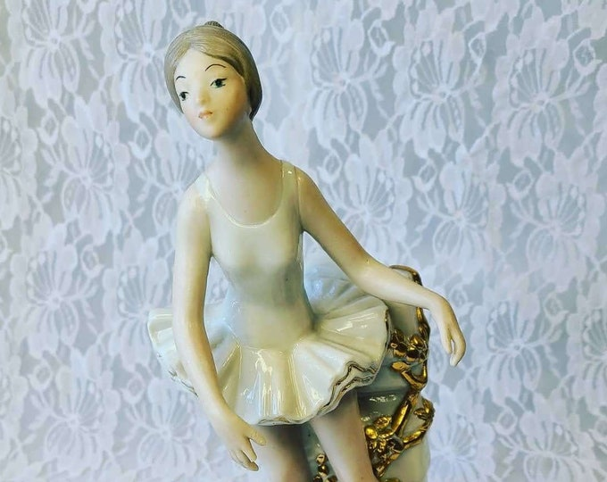 """Large Tabletop Fine Art Sculpture 22kt Gold Trim """"Ballerina"""" 1 of 991 ~ Signed Beatriz Ade Bello ~ Large 10.5"""" by 5"""" by 5"""""""
