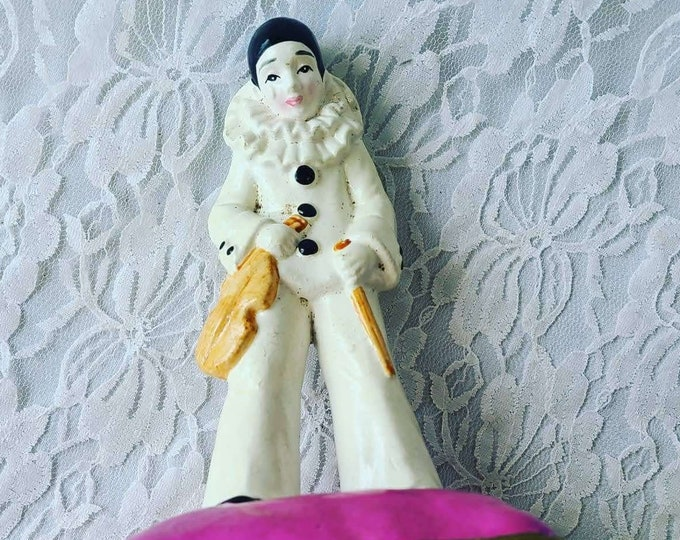Vintage Gorham French Mime Music Box ~ Harlequin Jester Clown Mime with Violin ~ Works! Plays Unknown Song